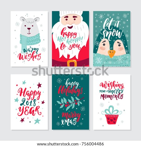 vector merry christmas greeting cards and invitations isolated on background big set with cute bear - Big Greeting Cards