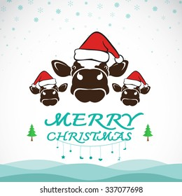 Vector merry christmas greeting cow card on white background