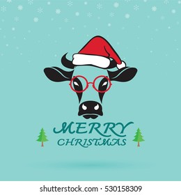 Vector Merry christmas greeting cow card. Vector illustration.