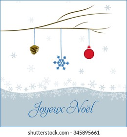vector merry christmas greeting in french language with christmas ball snowflake fir cone
