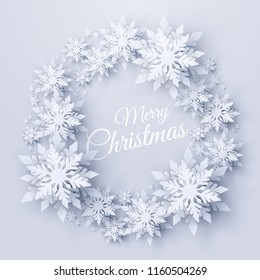 Vector Merry Christmas and Happy New Year background with wreath made of realistic looking paper cut snowflakes. Seasonal winter holidays greeting card