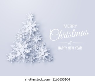 Vector Merry Christmas and Happy New Year greeting card design with Christmas tree made of realistic looking paper cut snowflakes. Seasonal holidays paper craft background