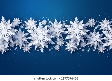Vector Merry Christmas and Happy New Year greeting card design with white layered paper cut snowflakes on dark blue background. Seasonal holidays paper art banner, poster