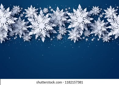 Vector Merry Christmas and Happy New Year greeting card design with white layered paper cut snowflakes on dark blue background. Seasonal Xmas holidays banner, poster