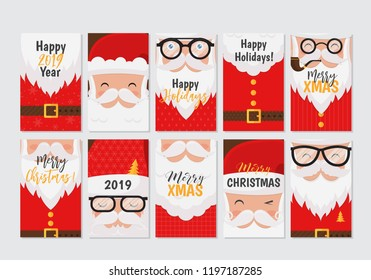 Vector Merry Christmas and Happy New Year greeting card set with cute santa claus designs. Perfect for gift tags, posters, bunners. Santa Claus collection.