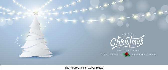 Vector merry Christmas and happy New Year background design .Christmas tree with growing lights.Calligraphic Christmas lettering.Winter vector illustration template.