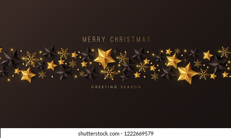 Vector merry Christmas and happy New Year background design with Snowflakes and stars decoration.Luxury greeting card.Winter vector illustration template.