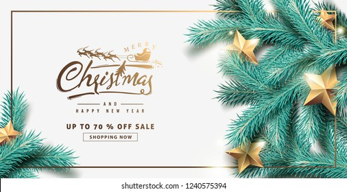 Vector merry Christmas and happy New Year sale background design with Realistic tree Branches and gold stars.