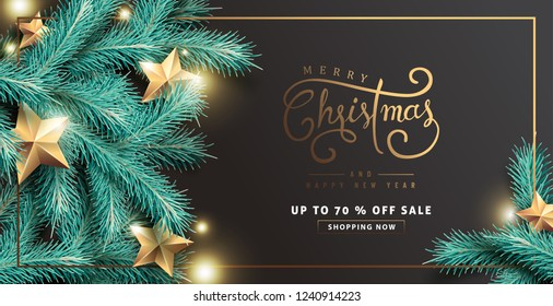 Vector merry Christmas and happy New Year sale background design with Realistic tree Branches and gold stars glowing lights.