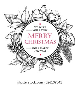 Vector Merry Christmas and Happy New Year hand drawn vintage illustration. Great for greeting and invitation cards, banners, postcards