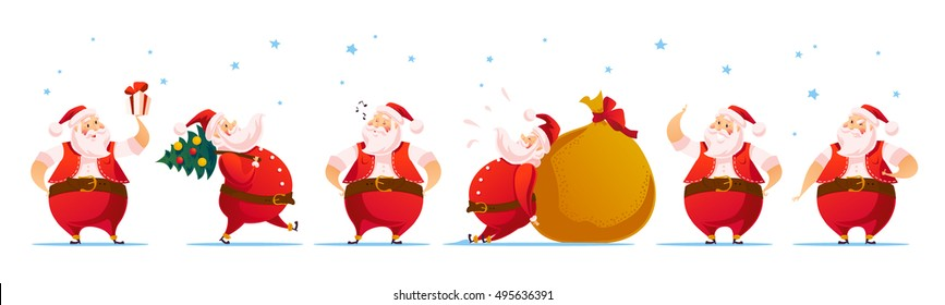 Vector Merry Christmas, Happy New year congratulation design. Santa Claus funny character portrait. Cartoon style. Good for xmas postcard, card, banner, advertisement, flayer, leaflet design.