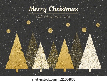 Vector merry Christmas and happy New Year design. Horizontal card with Christmas trees in black, gold and white colors.