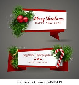 Vector Merry Christmas and Happy New Year 2017 greeting card Label banners set