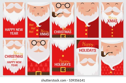 Vector Merry Christmas and Happy New Year greeting card set with cute santa claus designs. Includes holiday patterns and banners. Perfect for gift tags. Santa Claus collection.