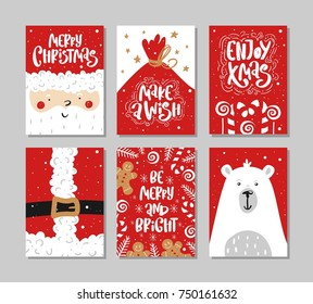 Vector Merry Christmas and Happy New Year greeting card set with calligraphy. Hand drawn design elements. Handwritten modern lettering.