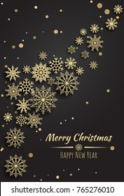 Vector Merry Christmas and Happy New Year  card with gold  snowflakes  on black background.