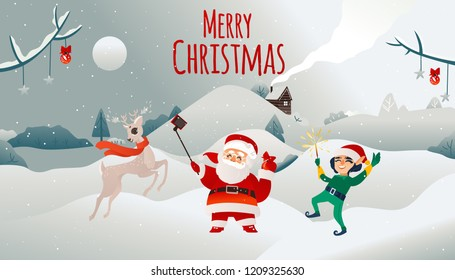 Vector merry christmas holiday poster. Cheerful santa claus in traditional red white clothing, hat doing selfie with elf assistant in green cosume near reindeer in scarf on winter snow background.