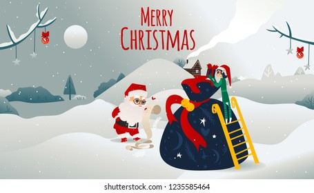 Vector merry christmas holiday poster. Cheerful santa claus in traditional red white clothing, hat checking present scroll list while elf assistant looking at presents bag on winter snow background.