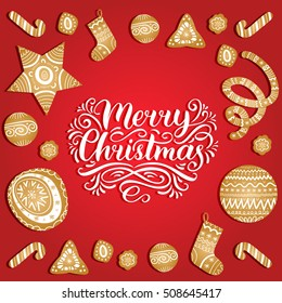 Vector Merry Christmas lettering  design. New Year's illustration with festive gold elements. Xmas greeting card. Happy Holidays postcard, poster or banner.  Ornate christmassy pattern.