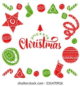 Vector Merry Christmas lettering with festive New Year's elements.Happy Holidays typography for greeting card template or poster concept.