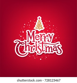 Vector Merry Christmas lettering on red background. New Year's or Nativity pattern typography. Happy Holidays greeting card, poster template.