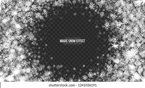 Vector Merry Christmas Magic Effect Snow Frame with Realistic Bright Snowflakes and Lights Overlay on Transparent Background. Xmas and Happy New Year Holidays Abstract Illustration. Design Template