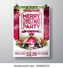 Vector Merry Christmas Party design with holiday typography elements and speakers on shiny background. EPS 10 illustration