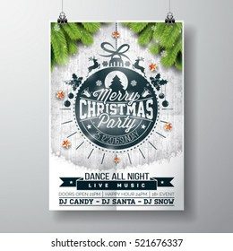 Vector Merry Christmas Party design with holiday typography elements and shiny stars on vintage wood background. EPS 10 illustration