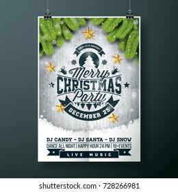 Vector Merry Christmas Party design with holiday typography elem