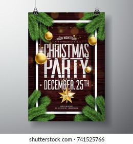 Vector Merry Christmas Party Design with Holiday Typography Elements and Ornamental Balls on Vintage Wood Background. Celebration Fliyer Illustration. EPS 10