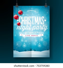 Vector Merry Christmas Party Flyer Illustration with Typography and Holiday Elements on Blue background. Winter Landscape Invitation Poster Template