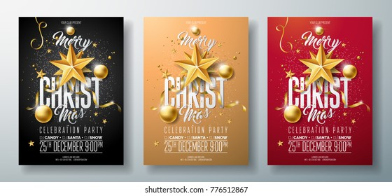 Vector Merry Christmas Party Flyer Illustration with Holiday Typography Elements and Gold Ornamental Ball, Cutout Paper Star on Clean Background. Celebration Poster Design Template Set of Three