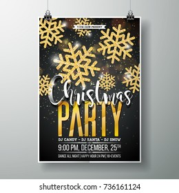 Vector Merry Christmas Party Poster Design Template with Holiday Typography Elements and Shiny Gold Snowflake on Dark Background