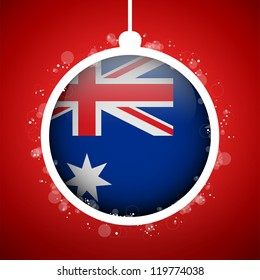Vector - Merry Christmas Red Ball with Flag Australia