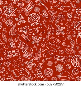 Vector Merry Christmas seamless pattern. Christmas tree baubles, poinsettia, sweets, candy canes, Santa socks, gifts, stars, music notes and snowflakes, mistletoe and gingerbread man, bells and birds.
