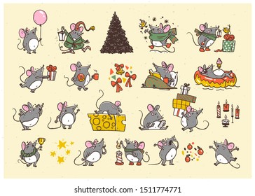 Vector Merry Christmas set of hand drawn happy mice characters isolated. Mouse & cheese, coffee, air balloon, celebrate, jump, carry gifts & fir tree. Stickers, congratulation cards, presents design.