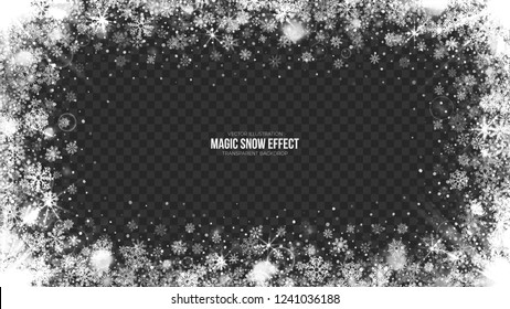 Vector Merry Christmas Snow Frame with Realistic Bright Snowflakes and Lights Overlay on Transparent Background. Xmas and Happy New Year Holidays Abstract Illustration. Magic Effect Design Template
