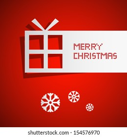 Vector Merry Christmas Theme - Present Made From Paper on Red Background