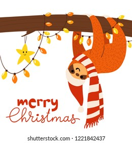 Vector Merry Christmas winter card for holiday season with cute funny sloth dreaming on a tree