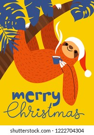 Vector Merry Christmas winter card for holiday season with cute funny sloth with a cup of hot coffee