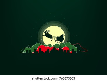 vector merry-christmas Santa Claus In the city and the moon