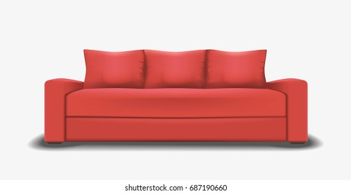 Vector mesh illustration of realistic red sofa.