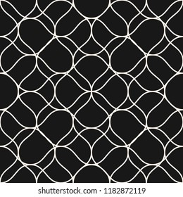 Vector mesh seamless pattern with thin curved interlacing lines. Black and white illustration of fishnet, lace, mesh, net. Subtle monochrome background texture. Dark repeat design for decor, cloth