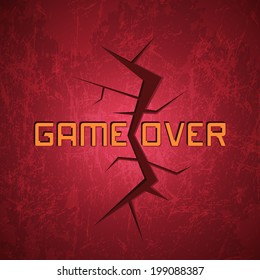 Vector Message: Game Over on Red Cracked Background