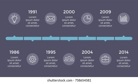 Vector metaball triangles timeline infographic, diagram chart, graph presentation. Business progress concept with 7 options, parts, steps, processes. Dark slide 16x9.