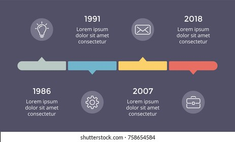 Vector metaball triangles timeline infographic, diagram chart, graph presentation. Business progress concept with 4 options, parts, steps, processes. Dark slide 16x9.