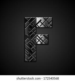 Vector metal alphabet letter F