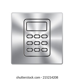 Vector metal button with calculator icon