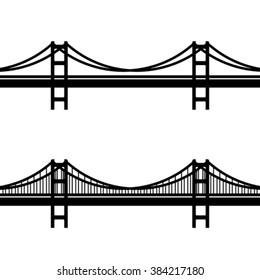 vector metal cable suspension bridge black symbol