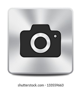 Vector metal camera icon / button, graphic design element